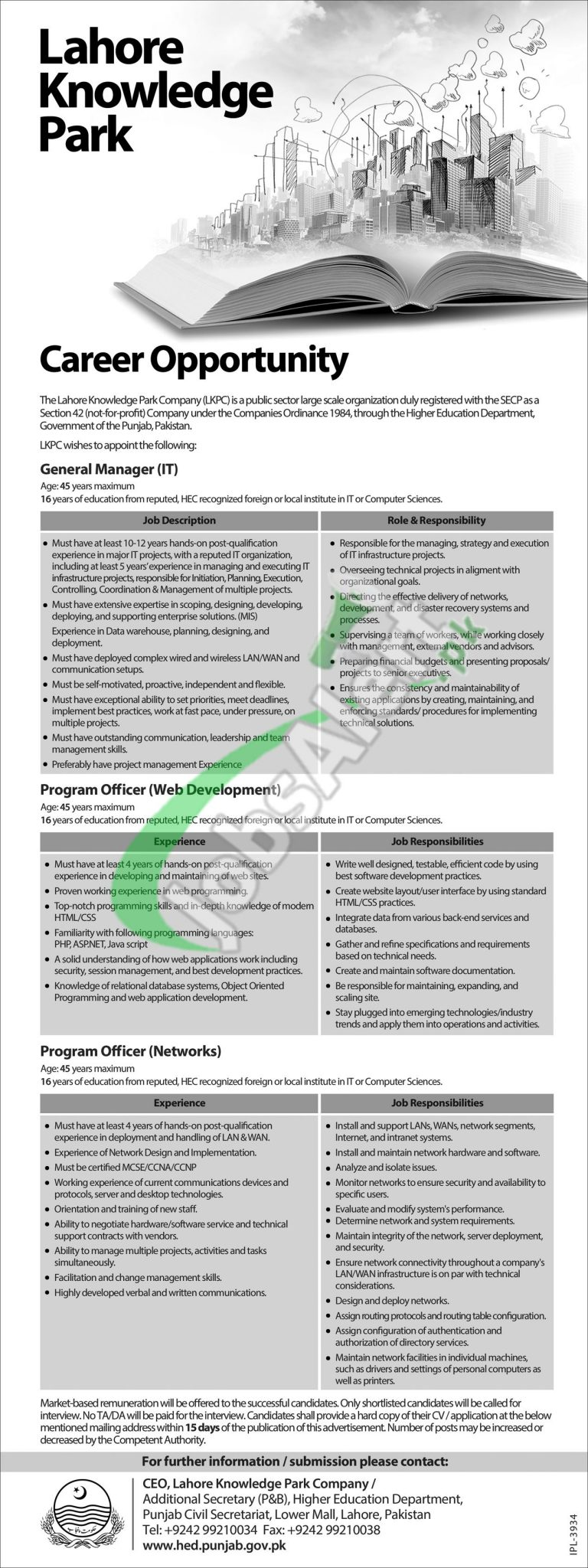 Jobs in Lahore Knowledge Park