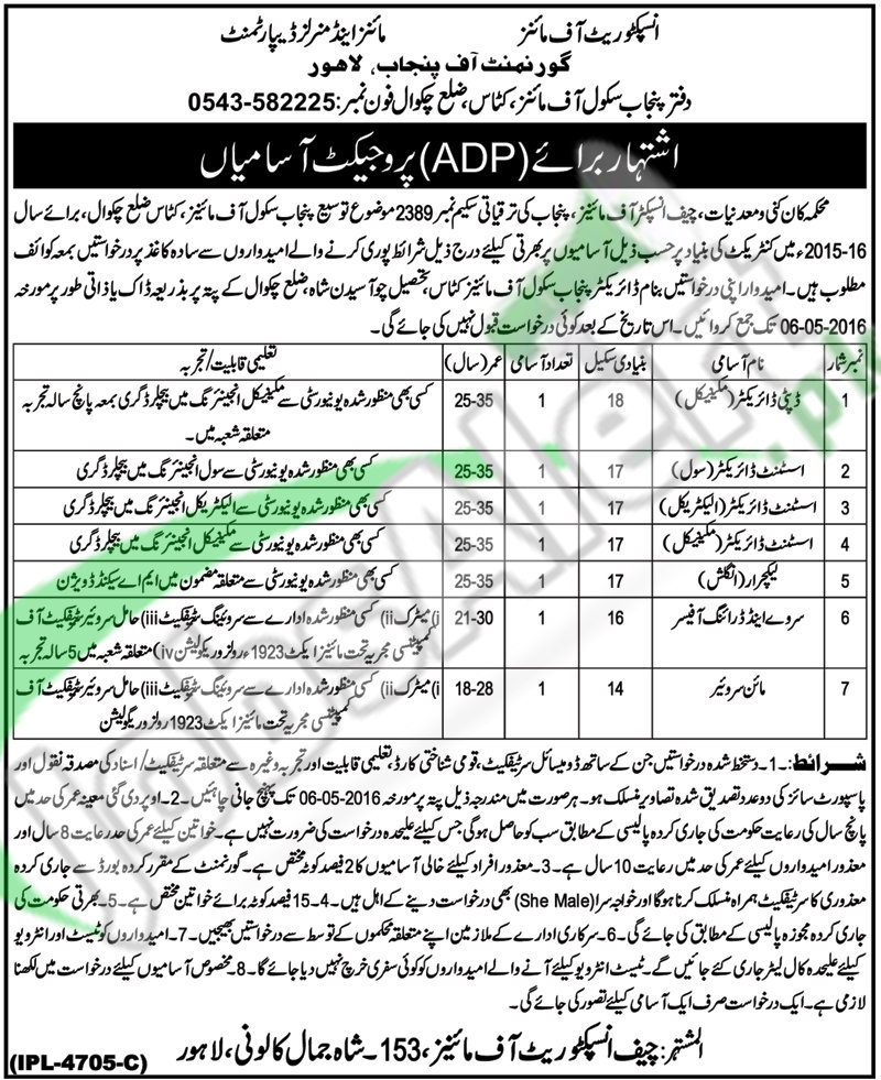 Jobs in Mines and Minerals Department Punjab Jobs 2016 Career Offers