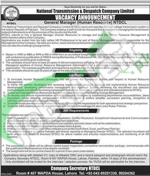 NTDCL Jobs April 2016 For General Manager HR Career Offers