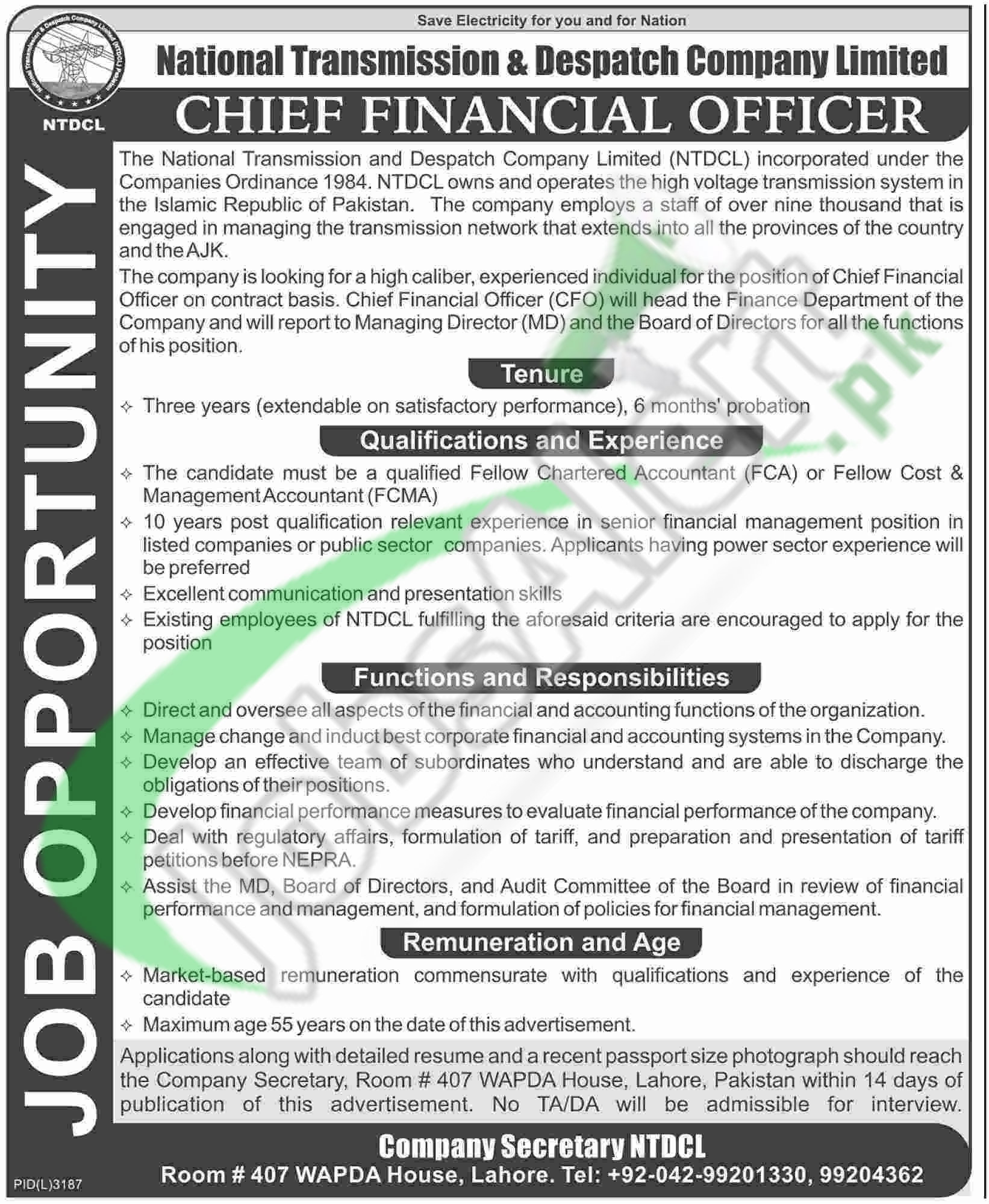 Career Offers in NTDCL Jobs 2016 For CFO