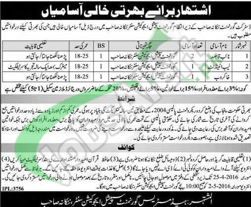 Career Offers in Nankana Sahib 2016 In District Govt For Naib Qasid Khakrob