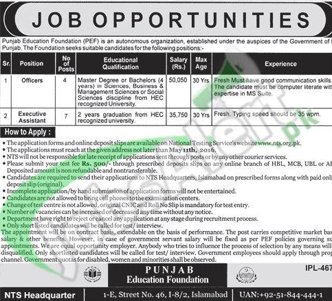 Punjab Education Foundation PEF Jobs April 2016 For Officer NTS Application Form