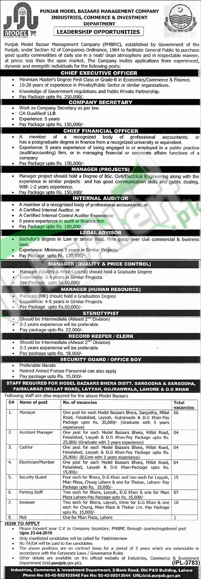 Career Offers in PMBMC Punjab April 2016 Latest Add