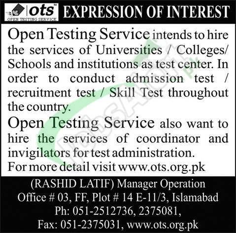 Invigilator Jobs in OTS 2019 Online Registration Latest