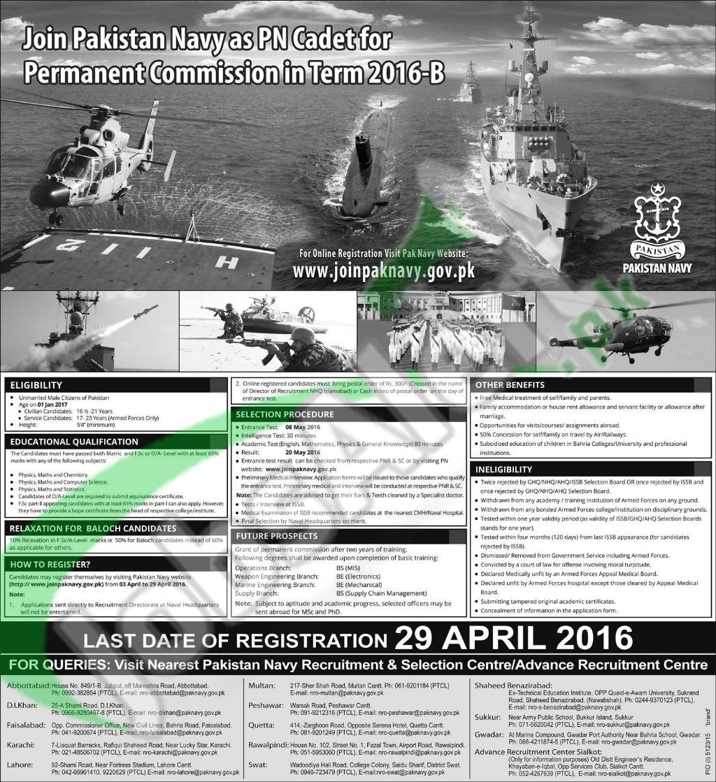 Career Offers in Pakistan Navy 2016 As PN Cadet Latest