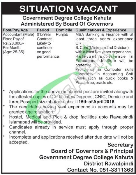 Govt Degree College Kahuta Rawalpindi Jobs