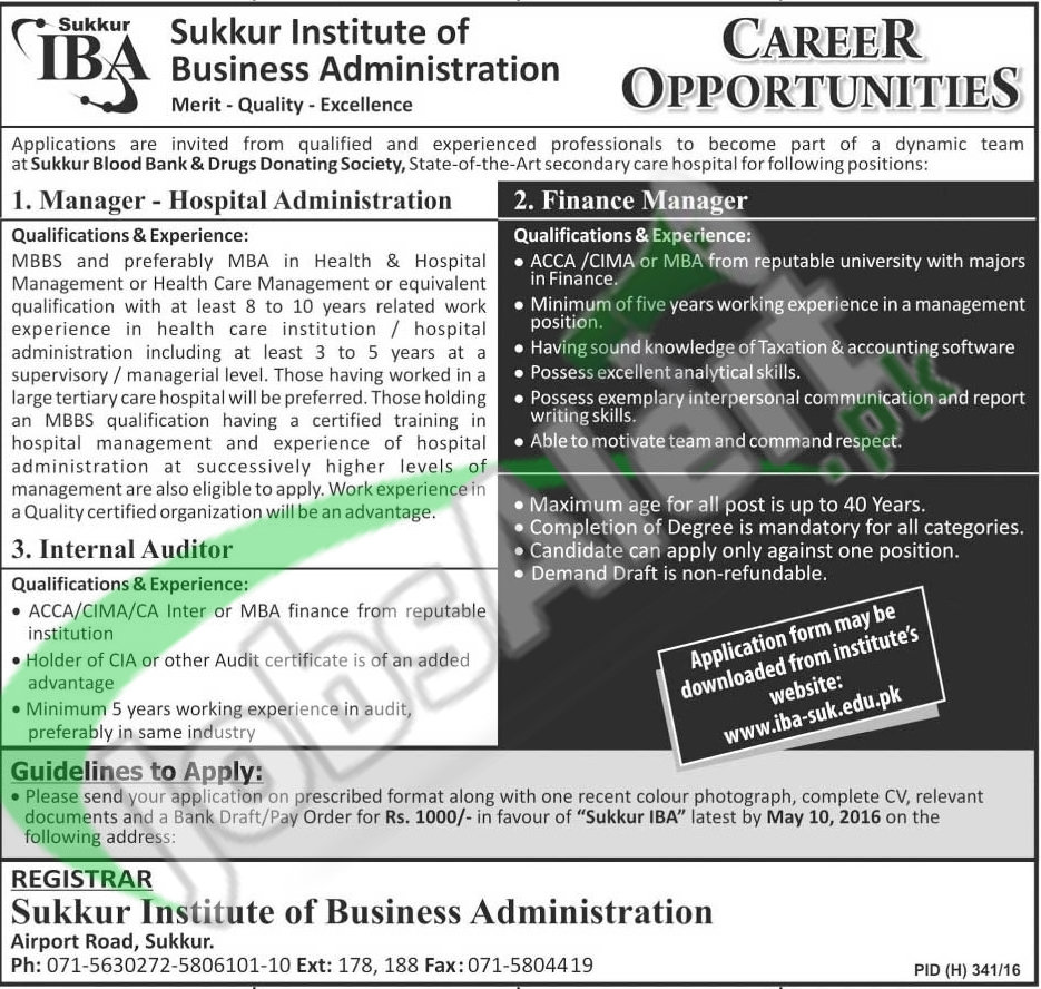 Institute of Business Administration Jobs April 2016 Latest Add