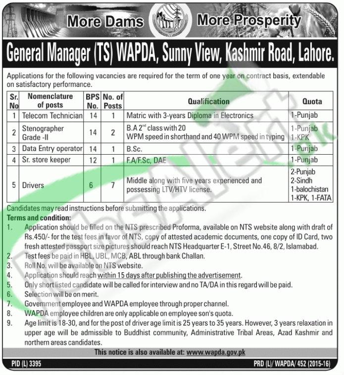 Jobs in WAPDA Lahore April 2016 NTS Application Form Latest