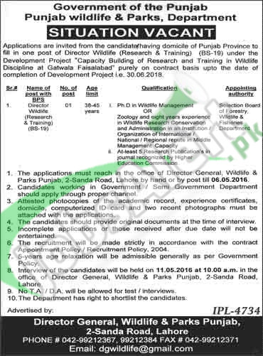 Jobs in Punjab Wildlife & Parks Department April 2016 For Director Wildlife