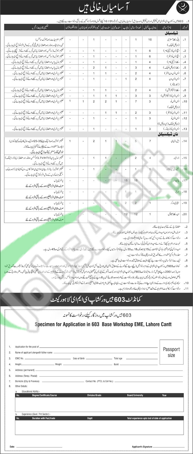 Recruitment Offers in Pakistan Army 603 Base Workshop EME Lahore 2016 Latest