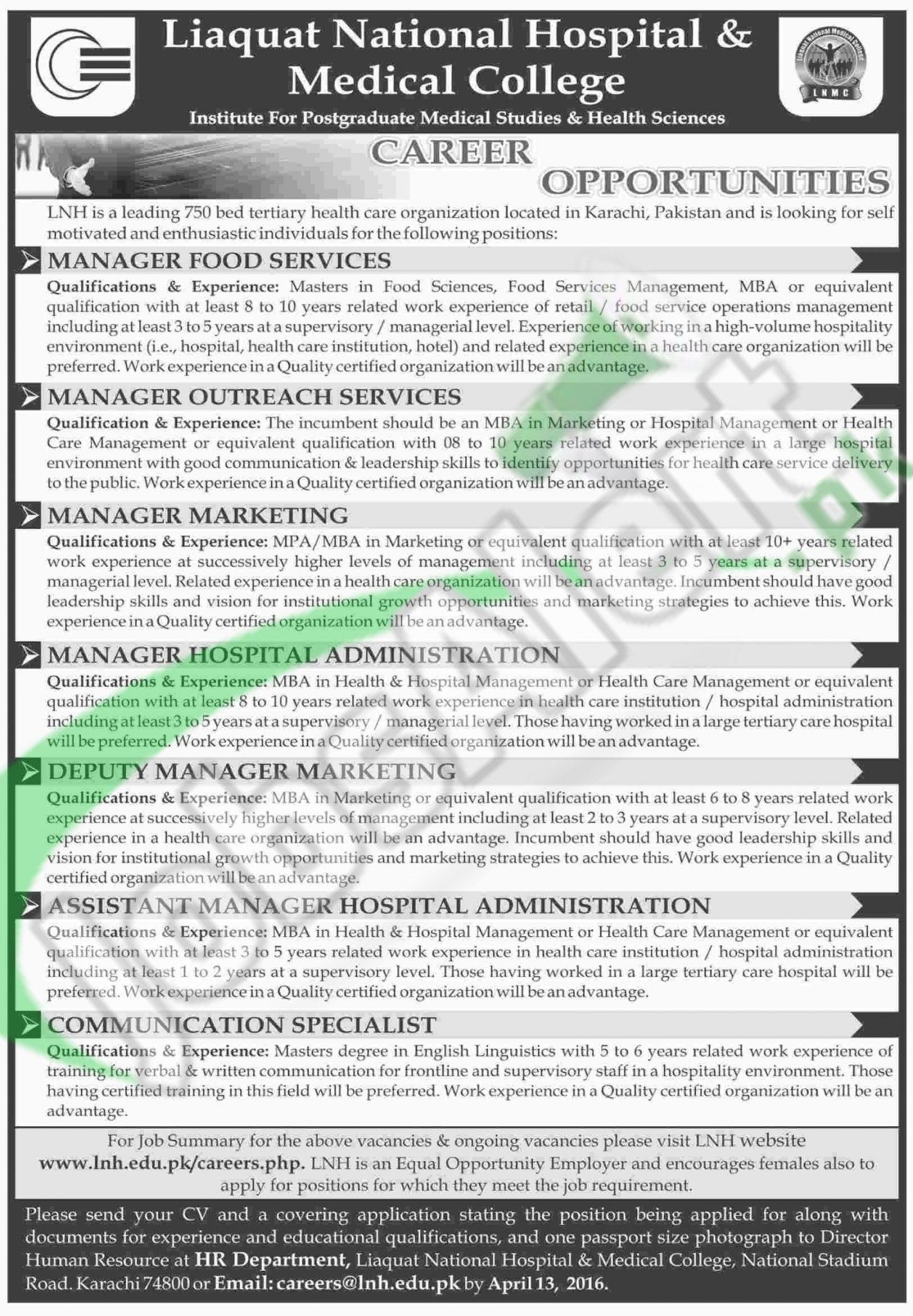 Liaquat National Hospital & Medical College Karachi Jobs 2016 Latest Advertisement