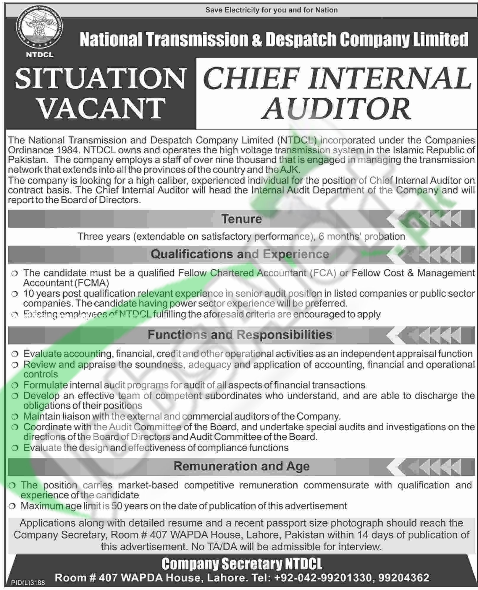 Career Offers for Chief Internal Auditor 2016 in NTDCL