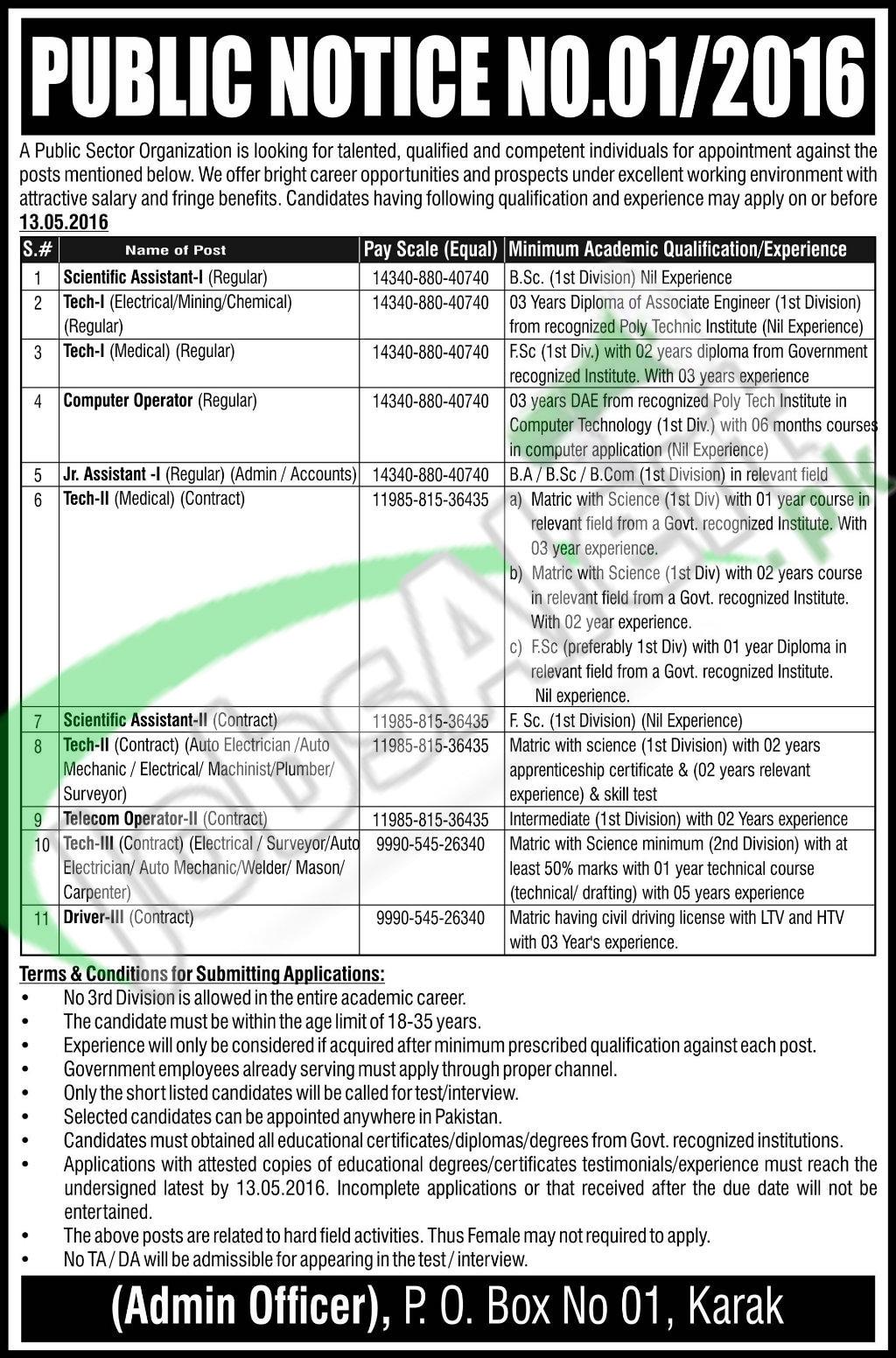 Public Sector Organization Jobs April 2016 For Technician & Assistants Eligibility Criteria