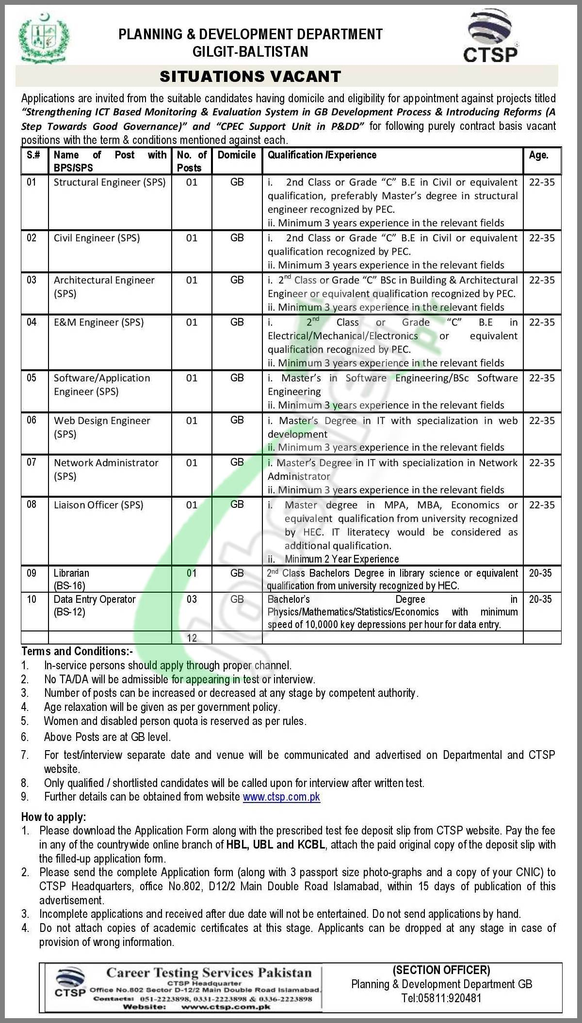 Planning & Development Department Gilgit Baltistan Jobs