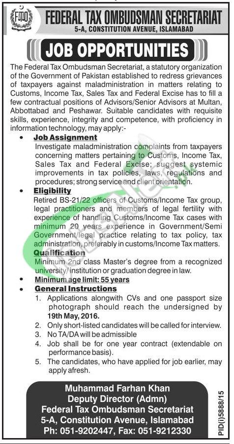 Jobs in Federal Tax Ombudsman Secretariat