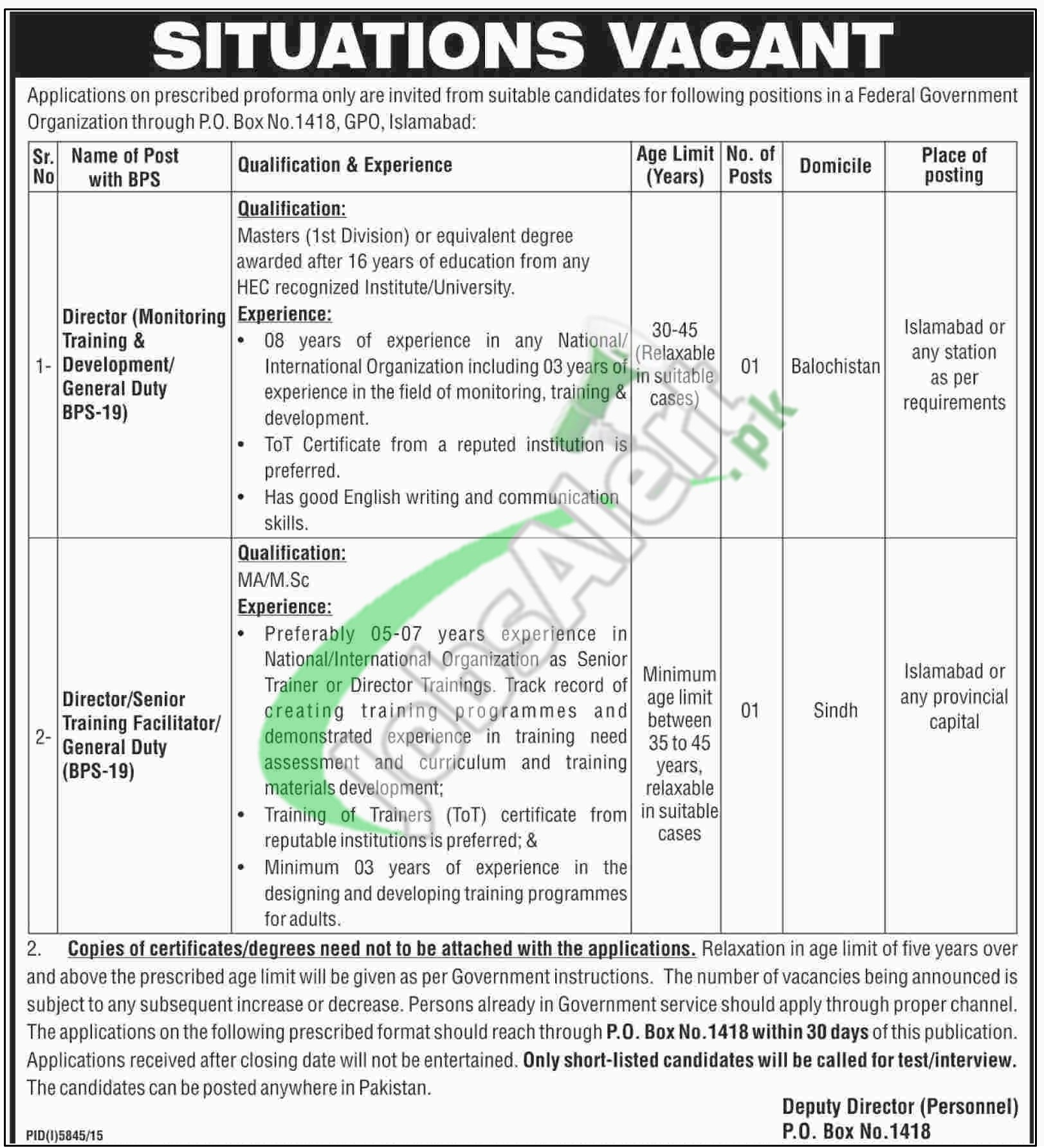 Federal Government Organization Jobs