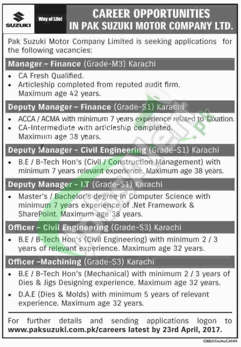 Pak Suzuki Motors Jobs