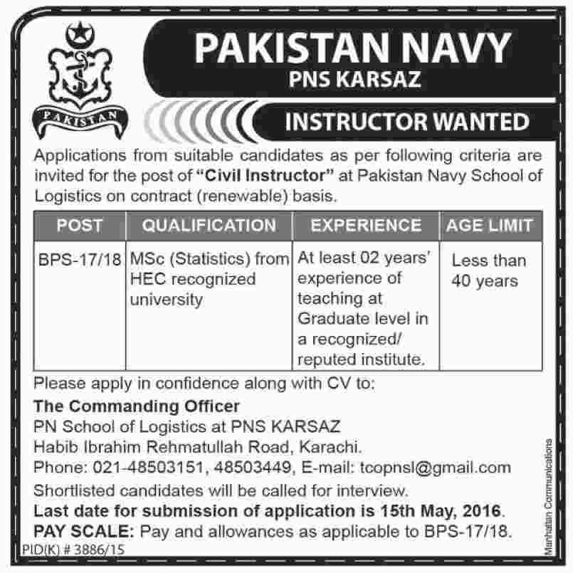 Join Pak Navy as Civilian 2016 Instructor Latest Career