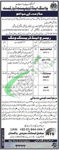 Planning and Development Department Sindh Jobs