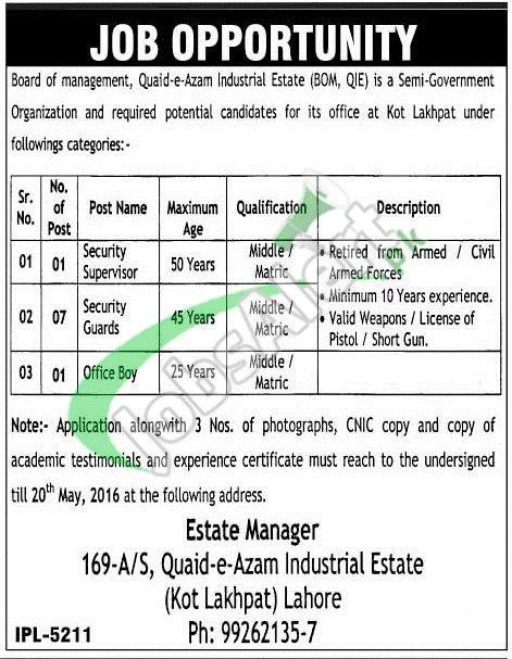 Quaid e Azam Industrial Estate Lahore Jobs