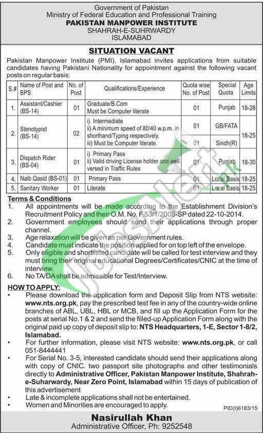 Pakistan Manpower Institute MPI Jobs