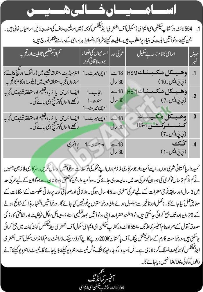 School of Infantry and Tactics Quetta Jobs