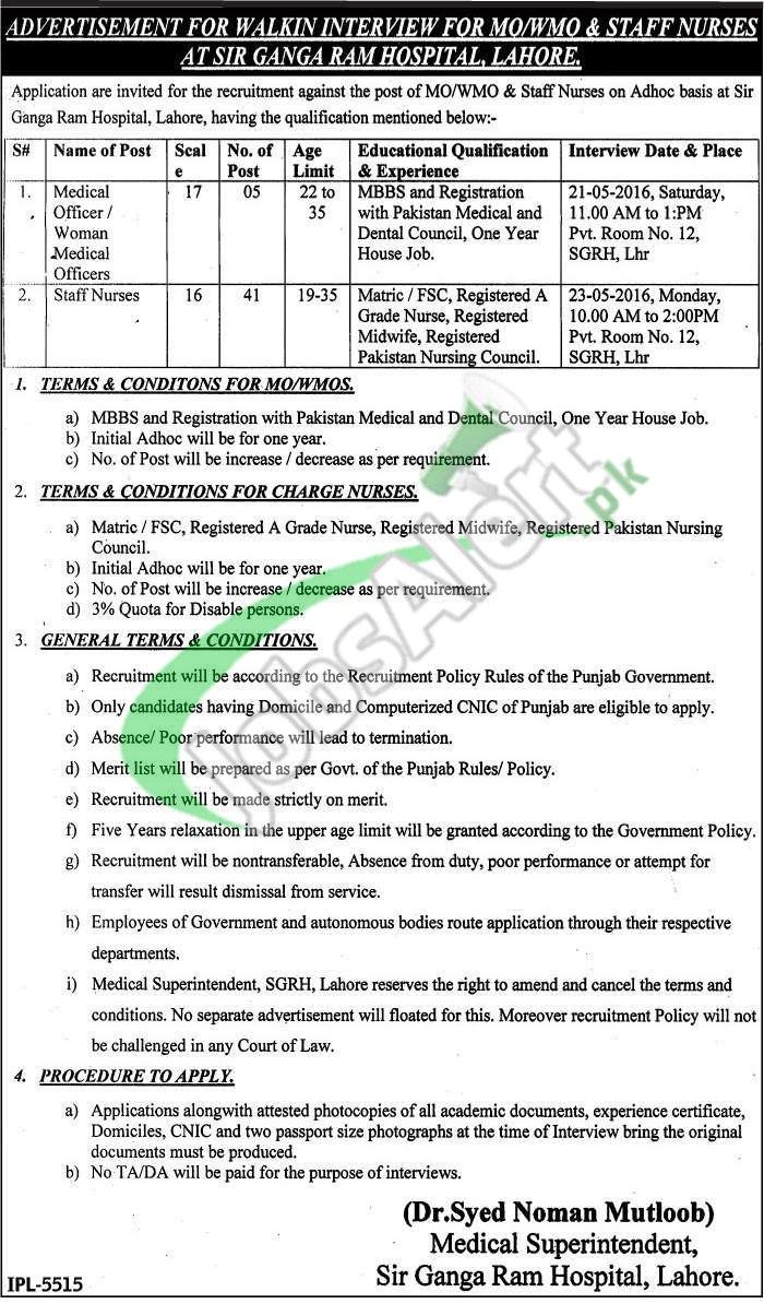 Ganga Ram Hospital Lahore Jobs