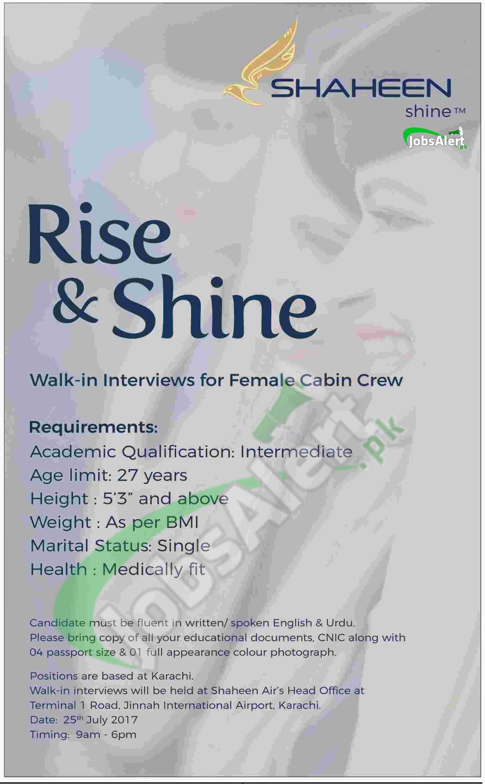 Shaheen Air Cabin Crew Jobs