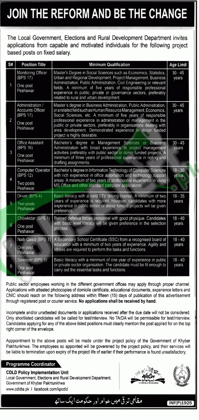 Local Government Elections and Rural Development Department KPK