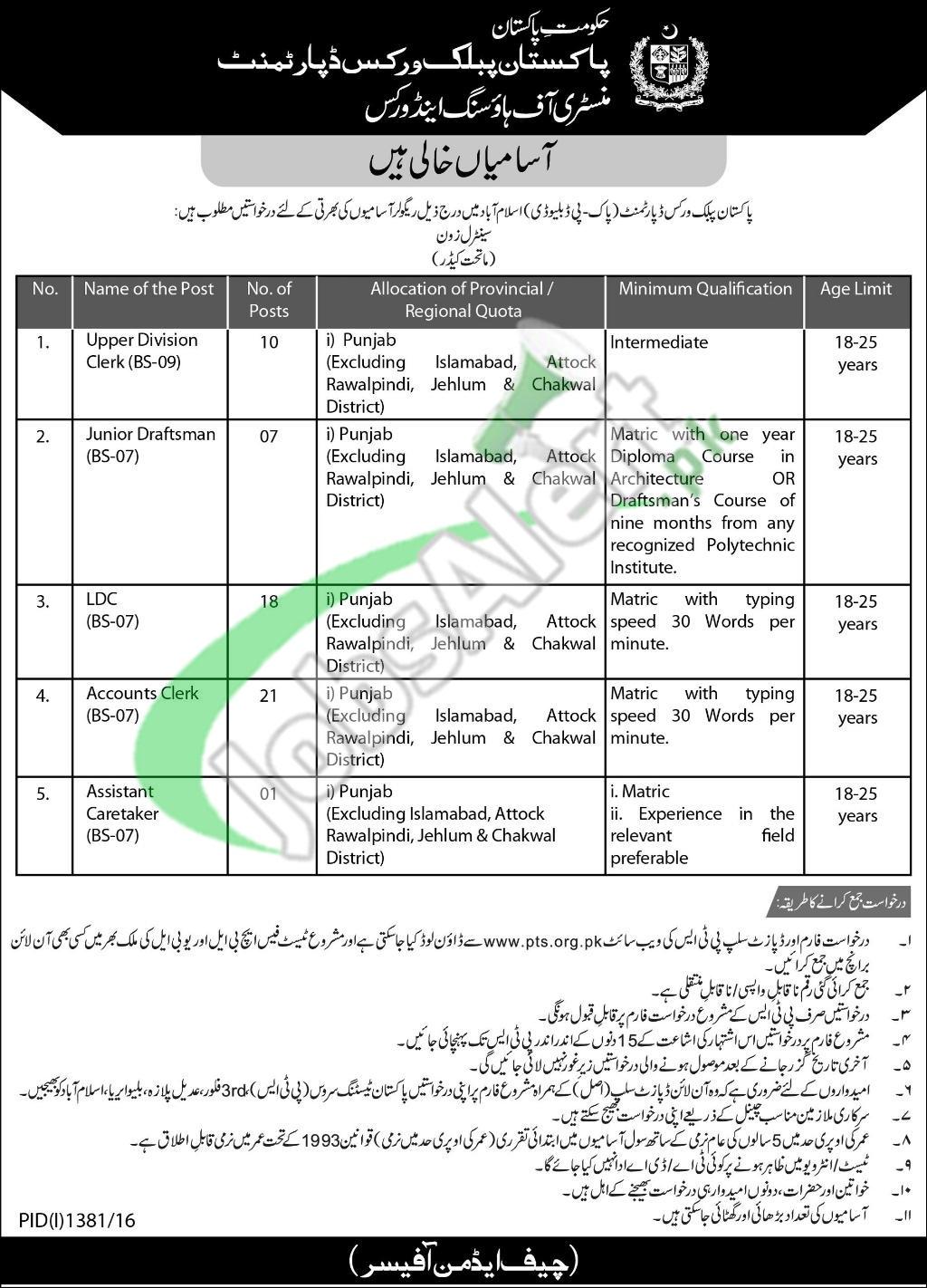 Pakistan Public Works Department Jobs