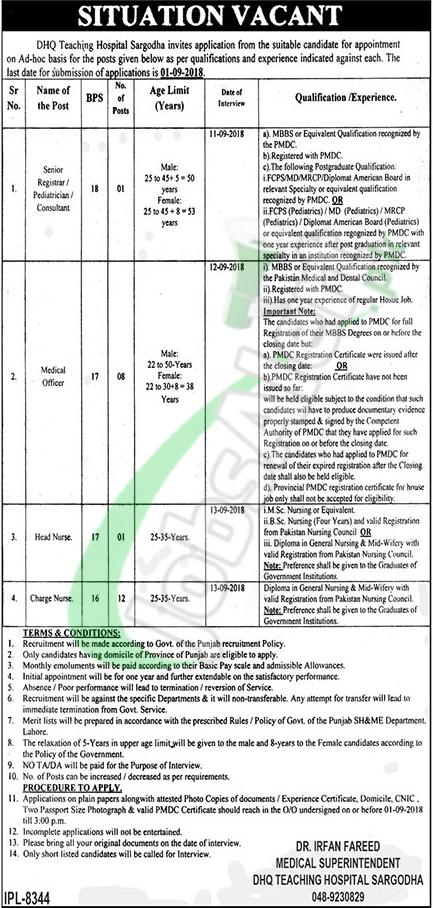 DHQ Teaching Hospital Sargodha Jobs 2018
