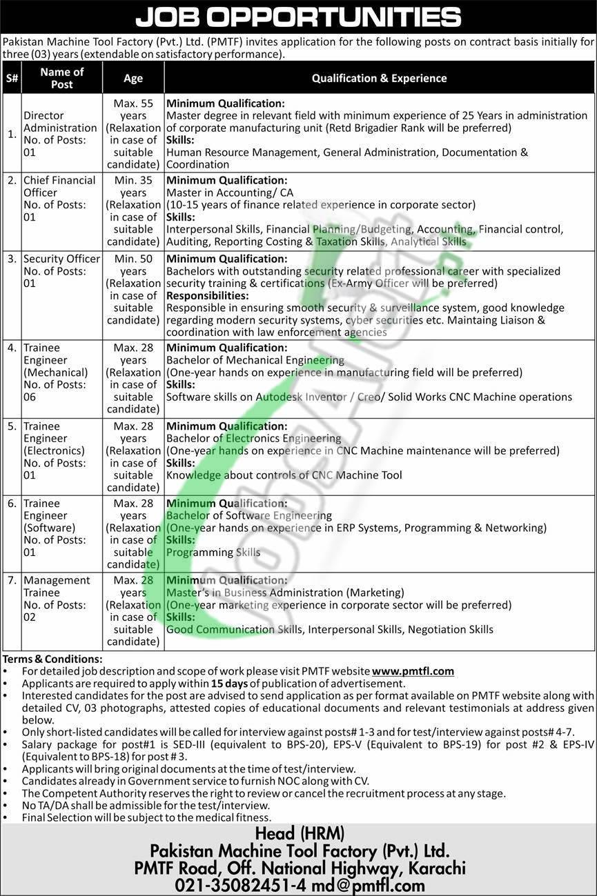 Pakistan Machine Tool Factory Jobs