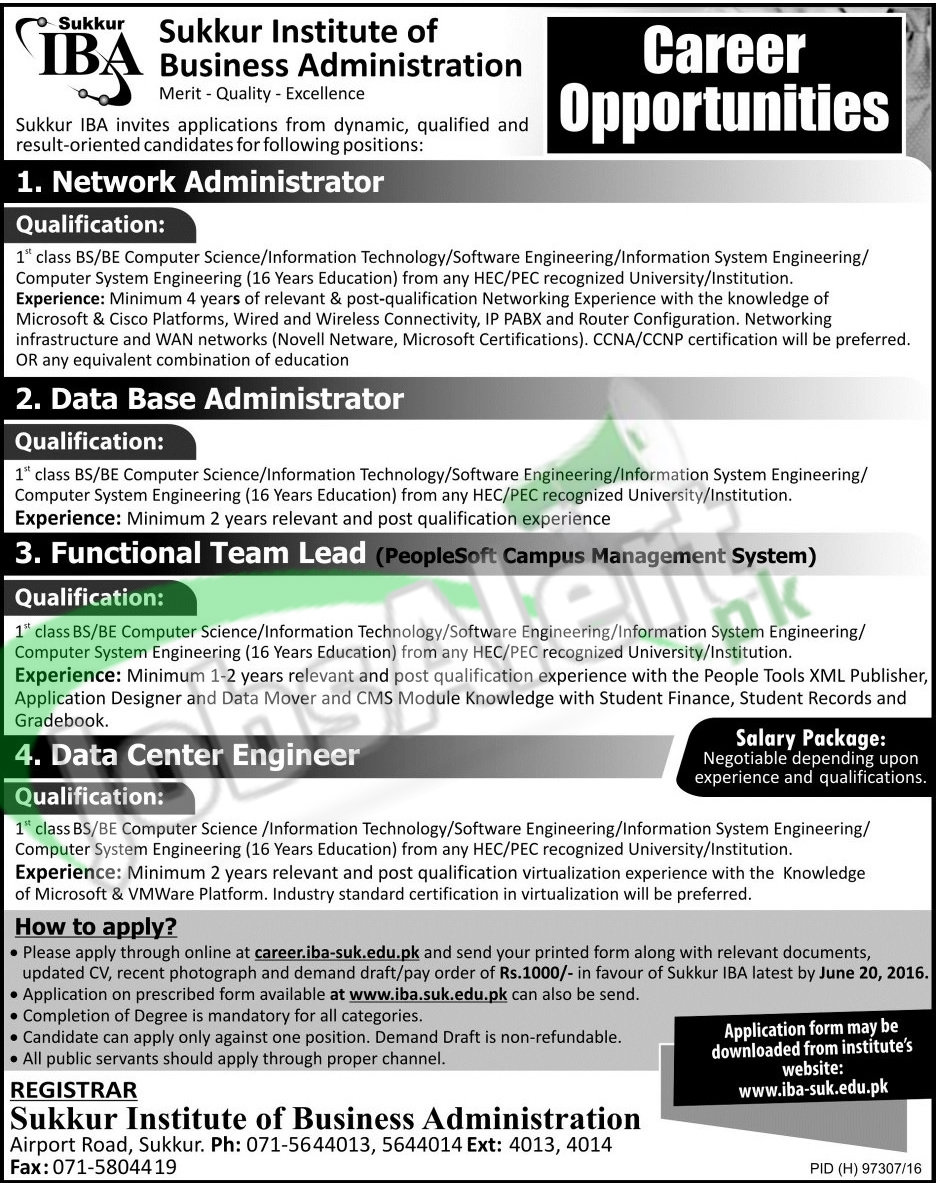 Jobs in sukkur iba 2016 for network administrator latest iba xflitez Gallery