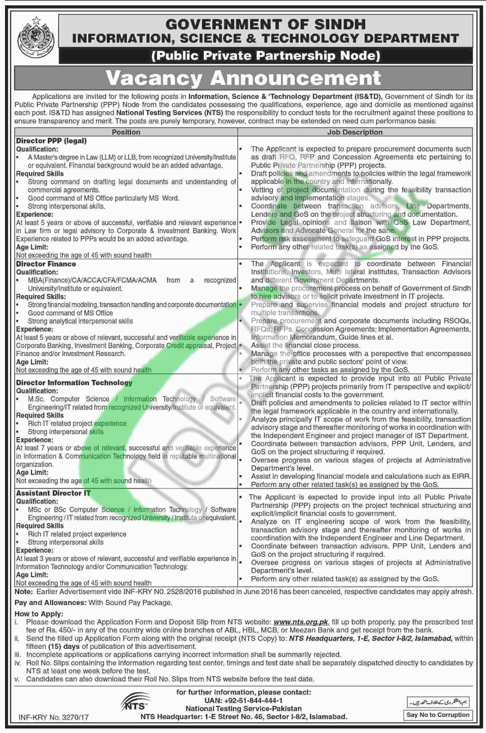 Information Science and Technology Department Sindh Jobs