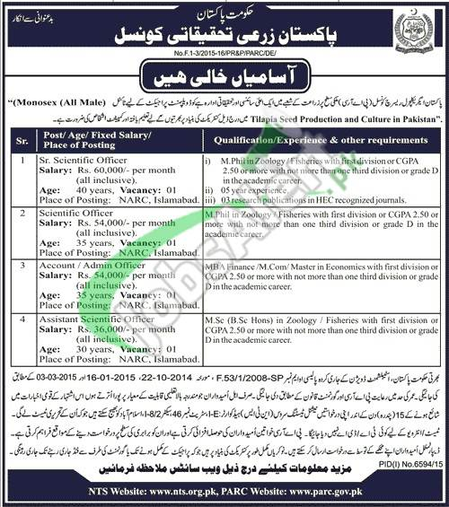 How to Apply for Pakistan Agricultural Research Council Monosex     PPSC Jobs