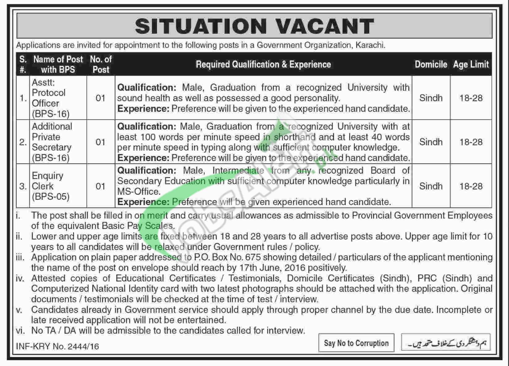 Sindh Government Jobs