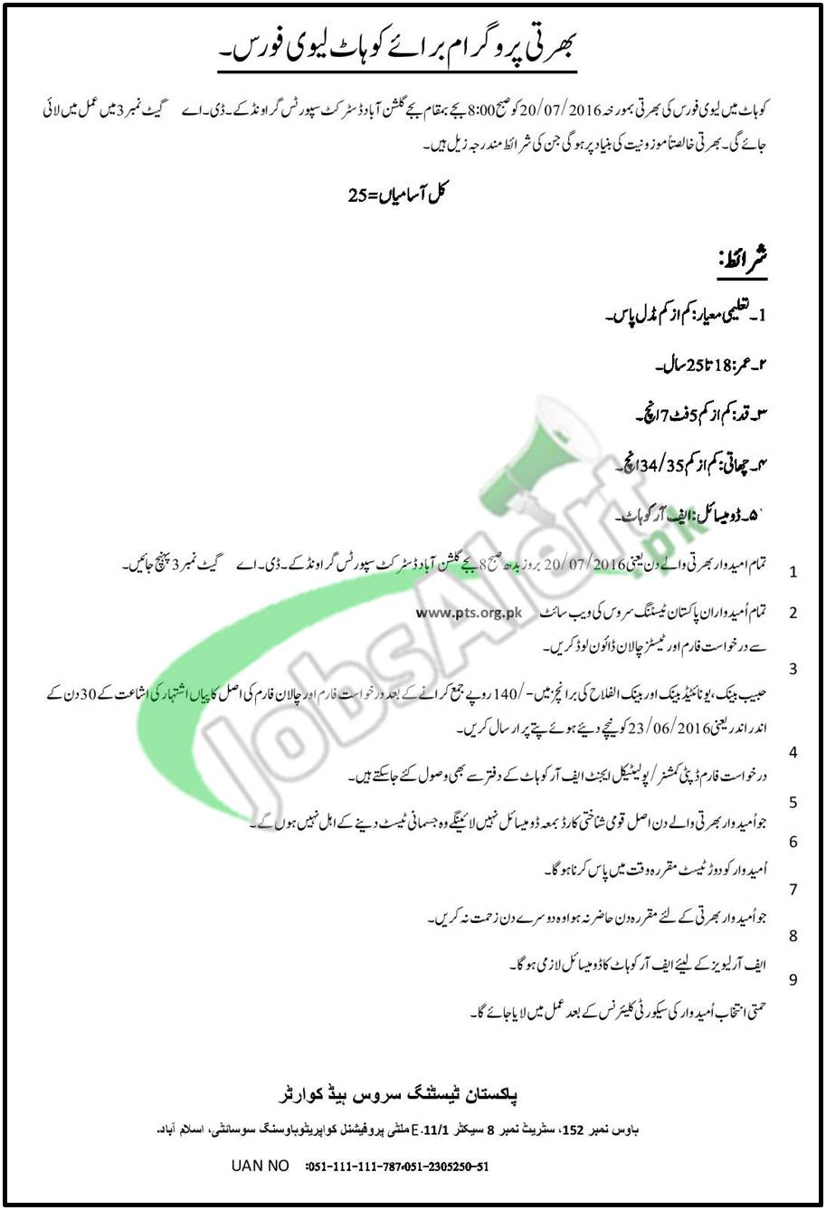 Levies Force Jobs in Kohat