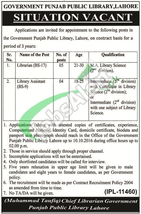 Punjab Public Library Lahore Jobs