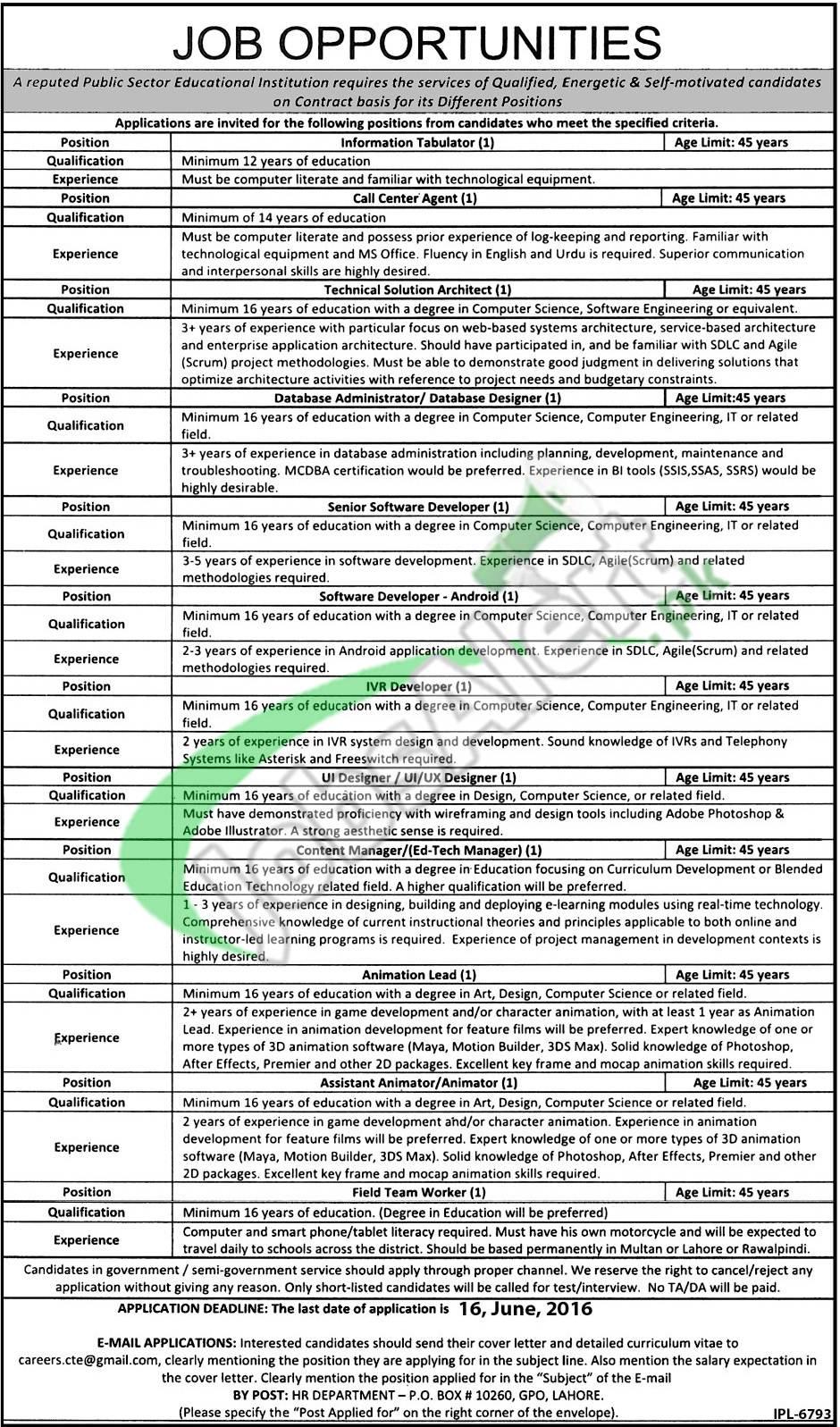 Public Sector Educational Institution Lahore Jobs