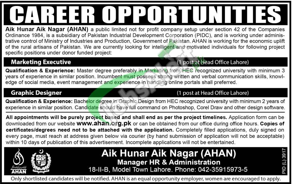 Aik Hunar Aik Nagar Jobs
