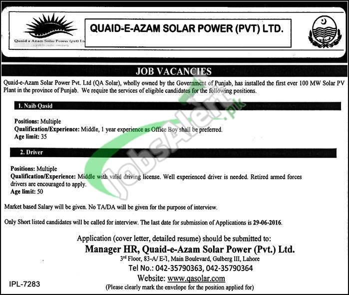 Quaid e Azam Solar Power Jobs