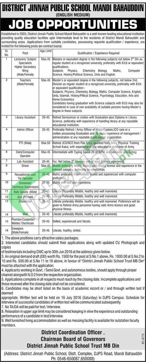 District Jinnah Public School MBDIN Jobs