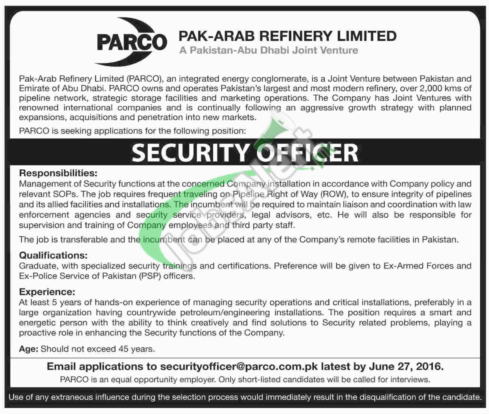 parco security officer jobs 2016 apply online latest