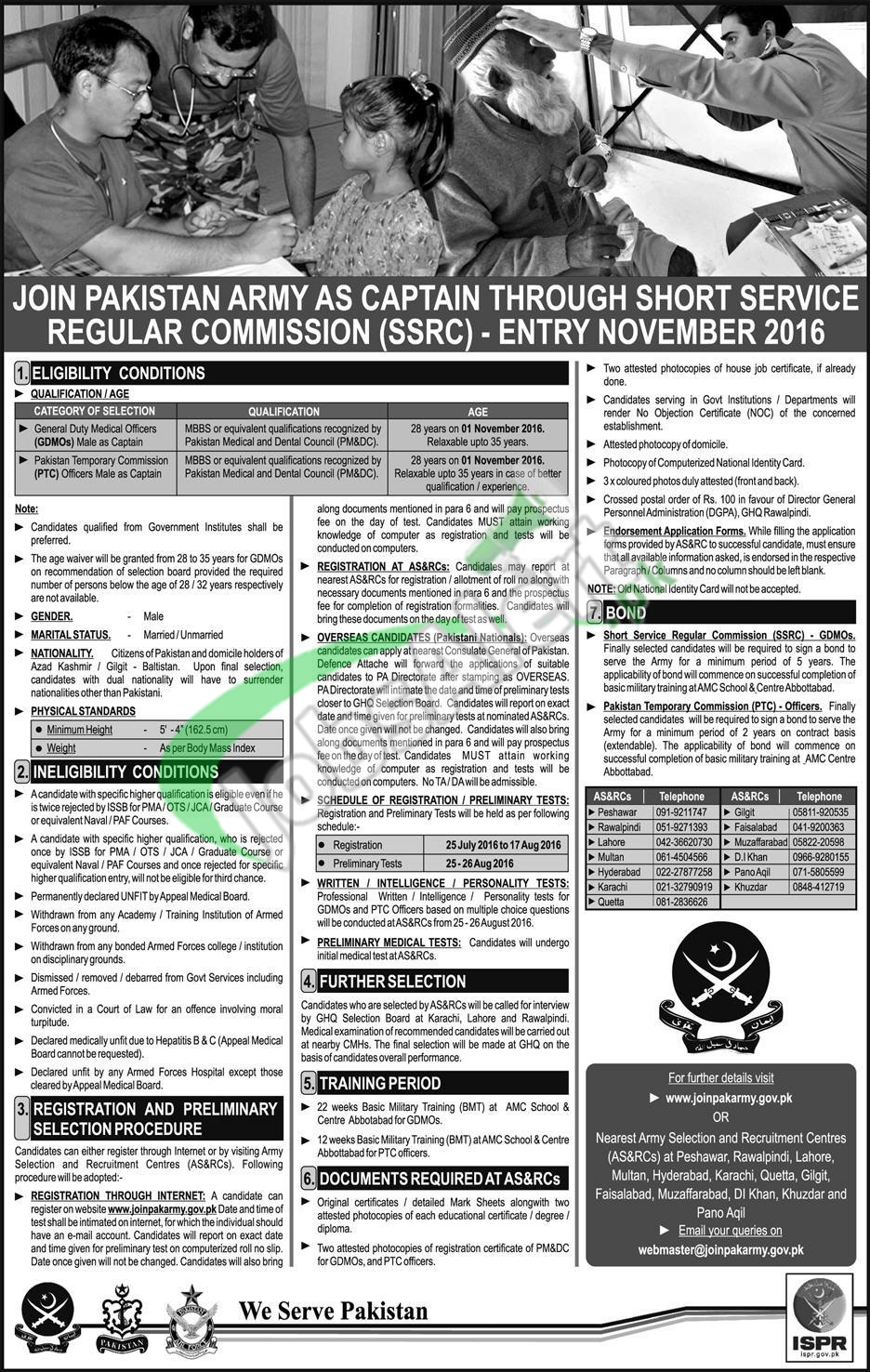 Join Pak Army as Captain 2016