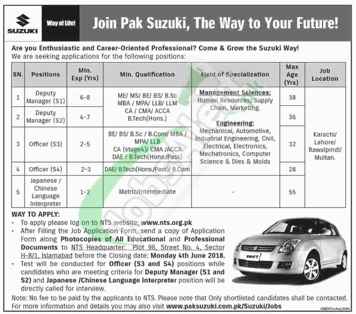 Pak Suzuki Jobs