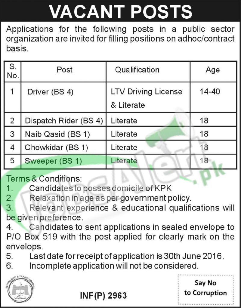 Public Sector Organization Kpk Jobs 2016 For Bps 01 To Bps 04 Latest