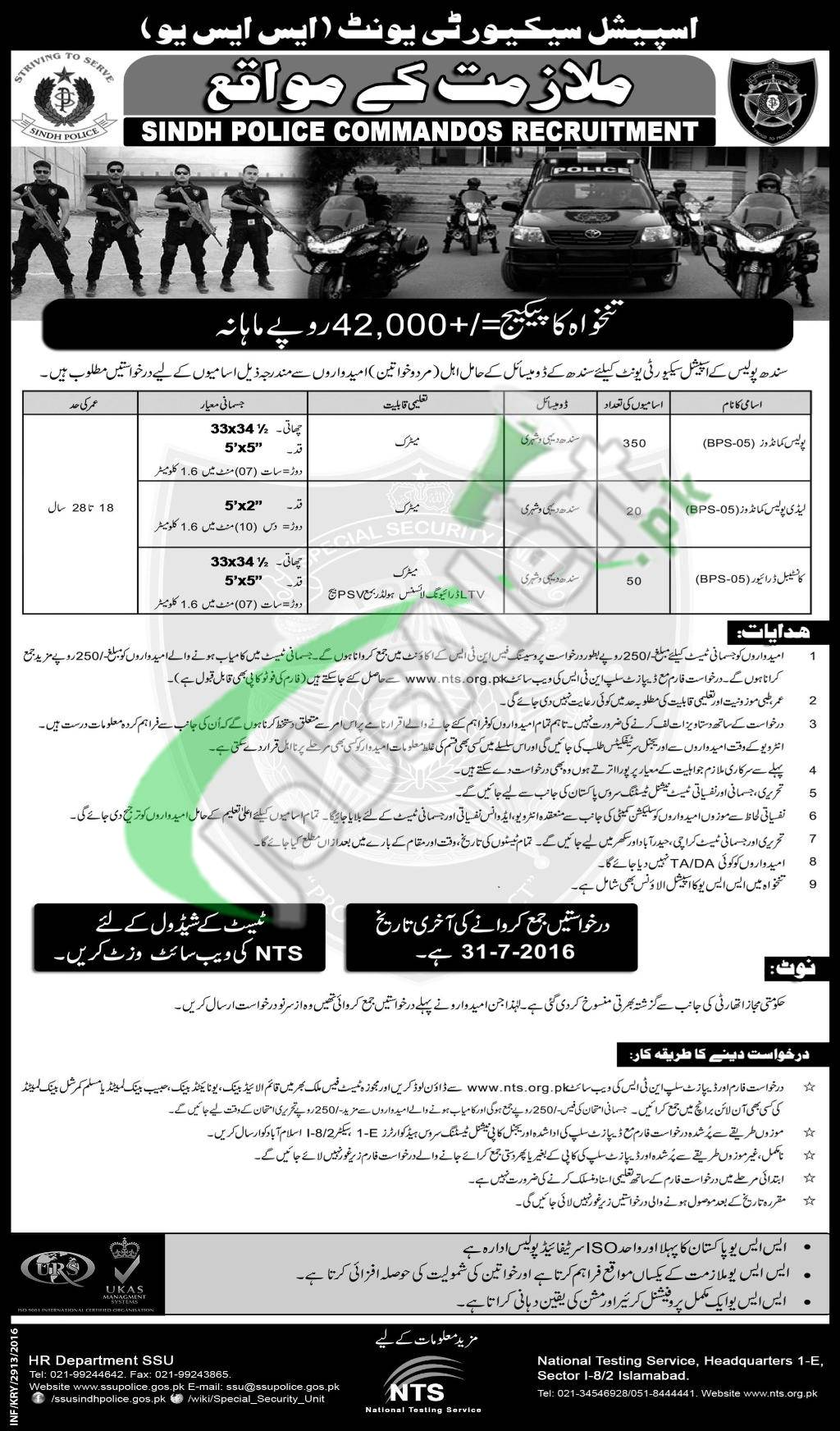 SSU Sindh Police Jobs 2016 Application Form Download NTS