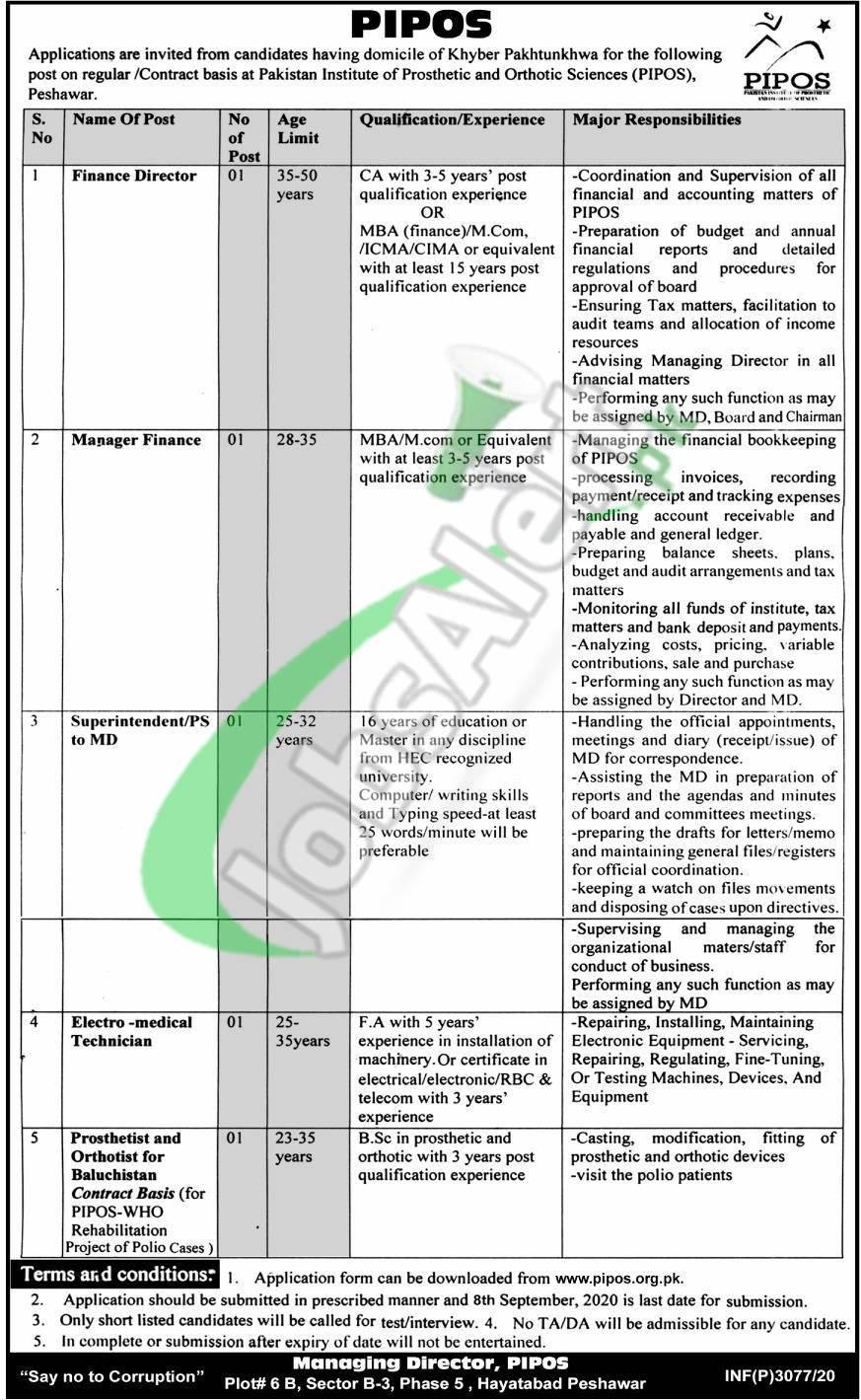 Pakistan Institute of Prosthetic & Orthotic Sciences Peshawar Jobs