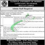 NUML Multan Jobs