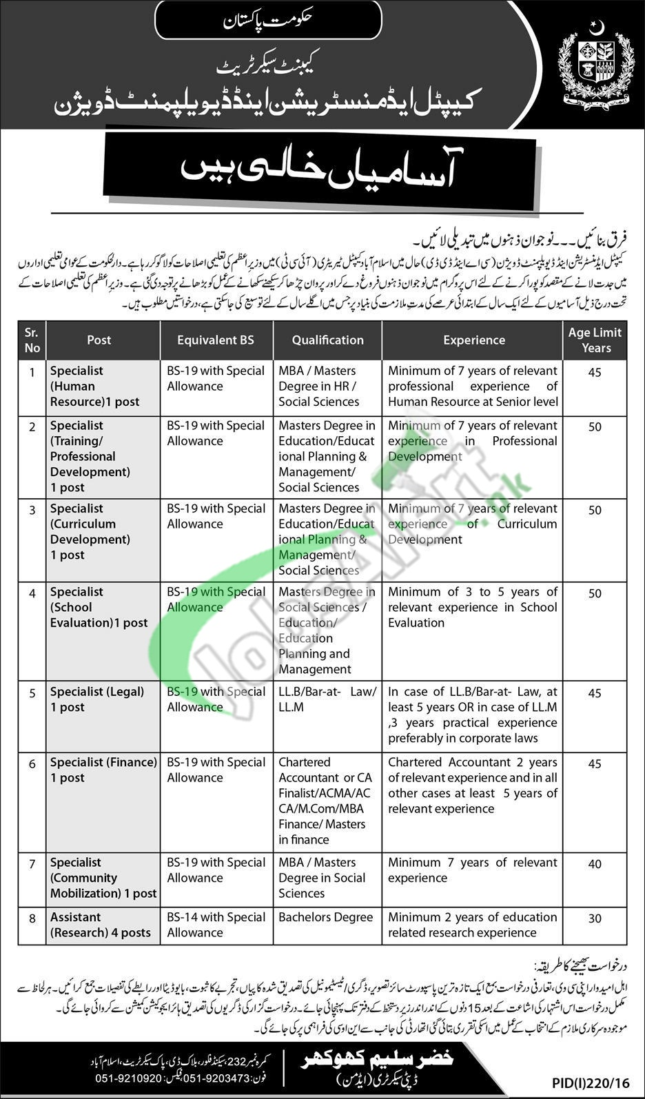 Capital Administration and Development Division Islamabad Jobs